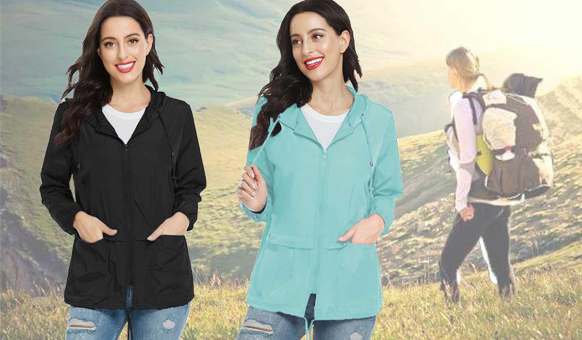 Lightweight Packable Rain Jacket For Women