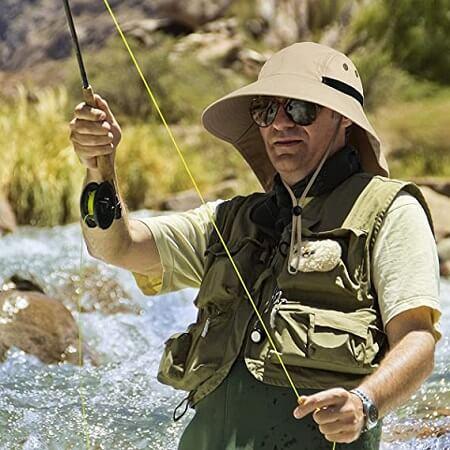 Outdoor 50+ UPF Wide Brim Fishing Sun Hat